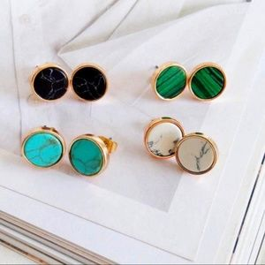 Jewelry - NEW Gold Round Green Marble Stud Earrings  Measure